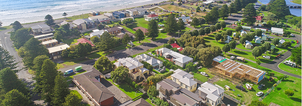 view over Eastern Beach Holiday Units, Port Fairy